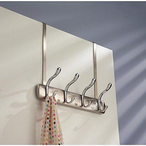 Arkbuzz Over Door Storage Rack – Organizer Hooks for Coats, Hats, Robes, Clothes or Towels – 4 Dual Hooks