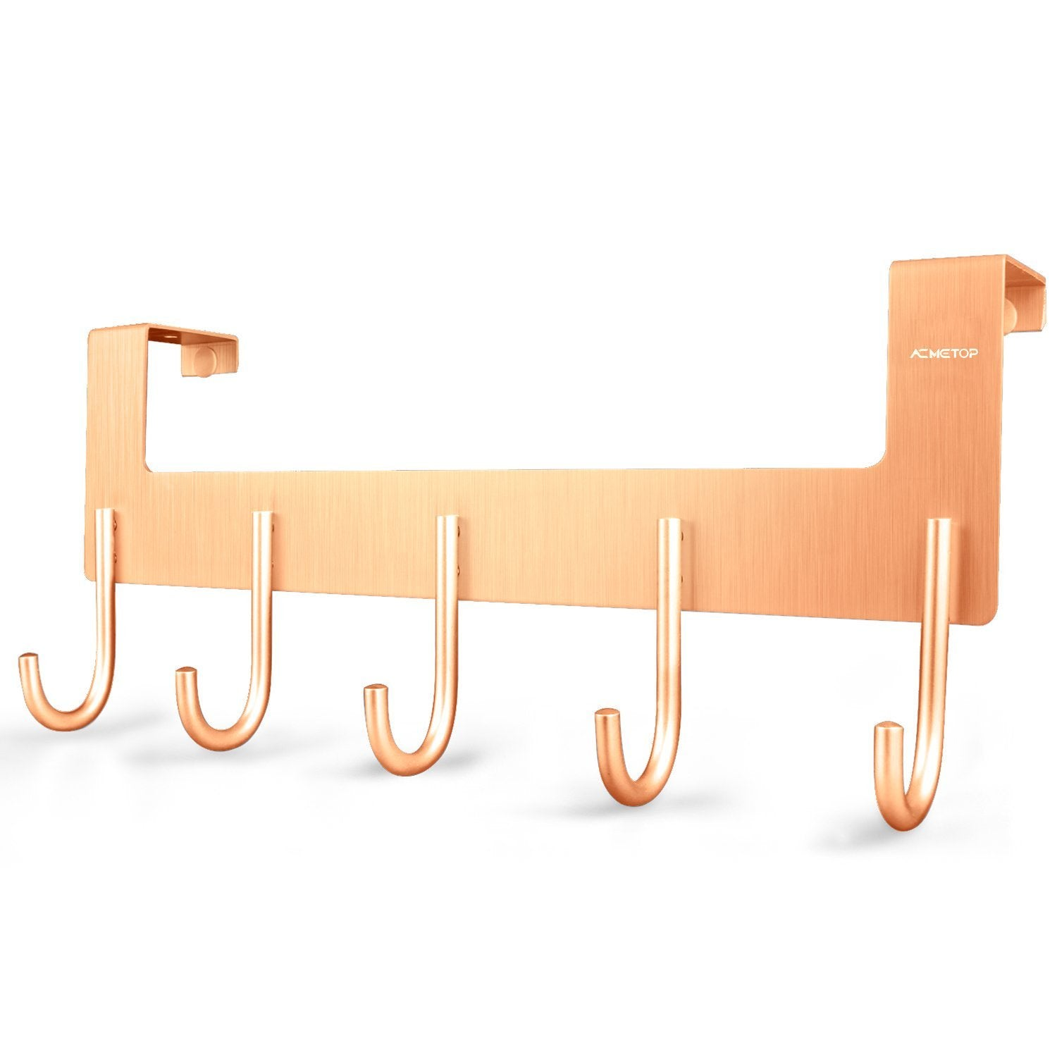 ACMETOP Over The Door Hook Hanger, Heavy-Duty Organizer for Coat, Towel, Bag, Robe - 5 Hooks, Aluminum, Brush Finish (Rose Gold)