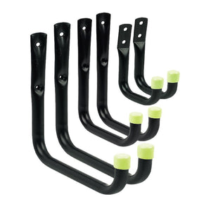 6 x Assorted Storage Hooks Wall Mounted, Ladders Garage Tools