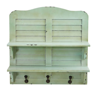 20'' Vintage Window Shutter Shelving with Hooks Wall Decor
