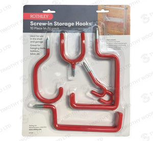 Rothley 10 Piece Screw-in Storage Hook Pack