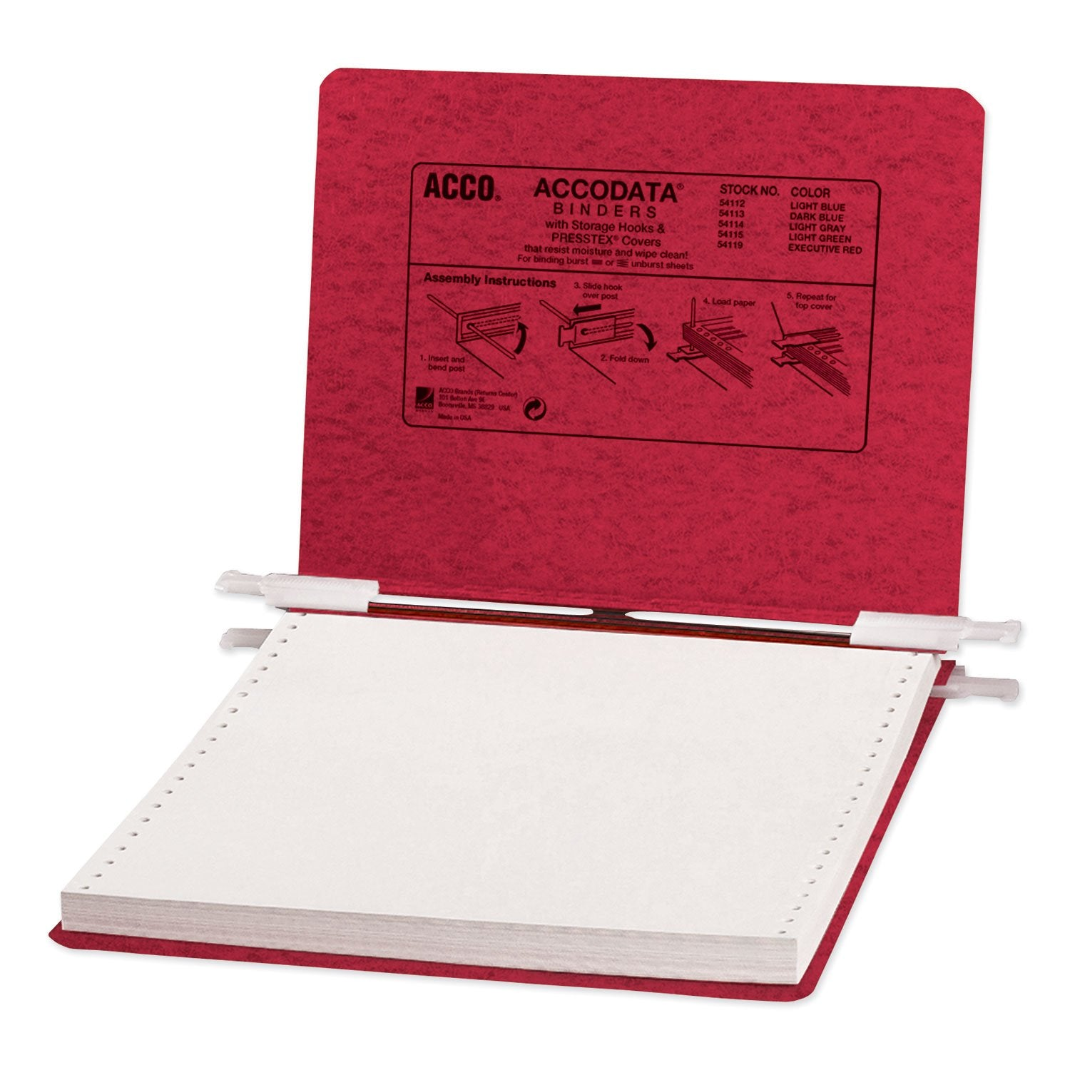 "ACCO PRESSTEX Covers with Storage Hooks, 2 Posts, 6"" Capacity, 9.5 x 11, Executive Red"