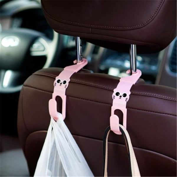 2Pcs/lot Cute Cat Car Back Seat Hanger Storage Hook Car Accessories Sundries Hanger Organizer Holder