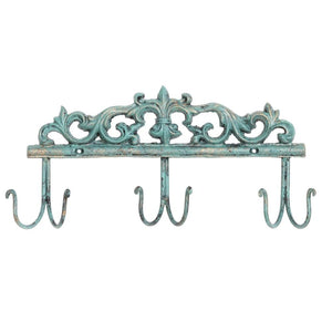 6 Hook Vintage Wall Mounted Turquoise Metal Entryway Storage Hooks