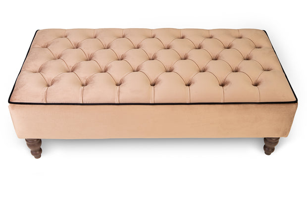 Deep Chesterfield Upholstered Footstool / Coffee Table