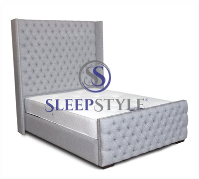 Ayla Tall Winged Chesterfield Upholstered Bed Frame