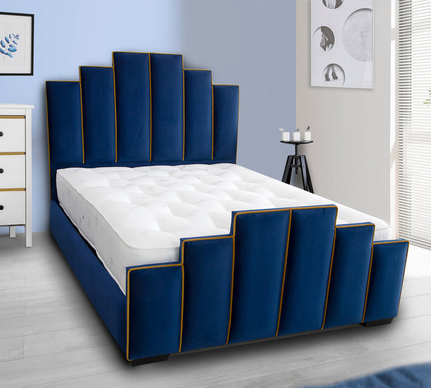 Tower Art Deco Upholstered Bed Frame