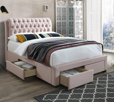 Oxford Upholstered Fabric 4 Drawer Storage Bed