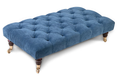 Bleu Chesterfield Upholstered Footstool / Coffee Table