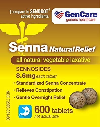 Senna Laxative 600 Tablets by GenCare – Senna 8.6mg Tablets with Natural Sennosides | Laxatives for Constipation, Bloating, Gas & Irregularity Relief. Safe & Effective | Generic for Senokot
