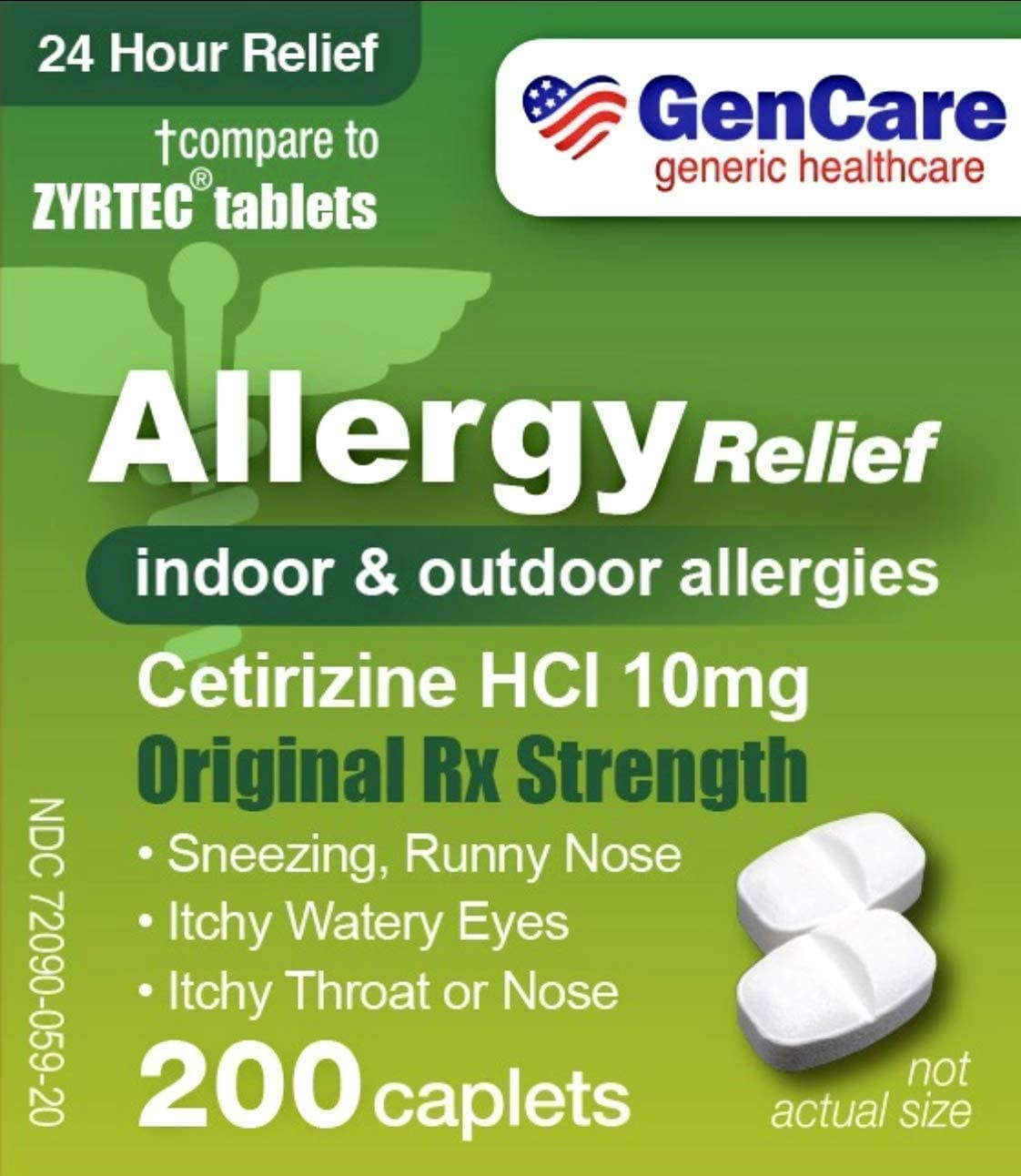 GenCare - Cetirizine HCL 10 mg (200 Count) | 24 Hour Allergy Relief Pills | Best Value Generic OTC Allergy Medication | Antihistamine for Sneezing, Runny Nose & Itchy Eyes | Generic Zyrtec
