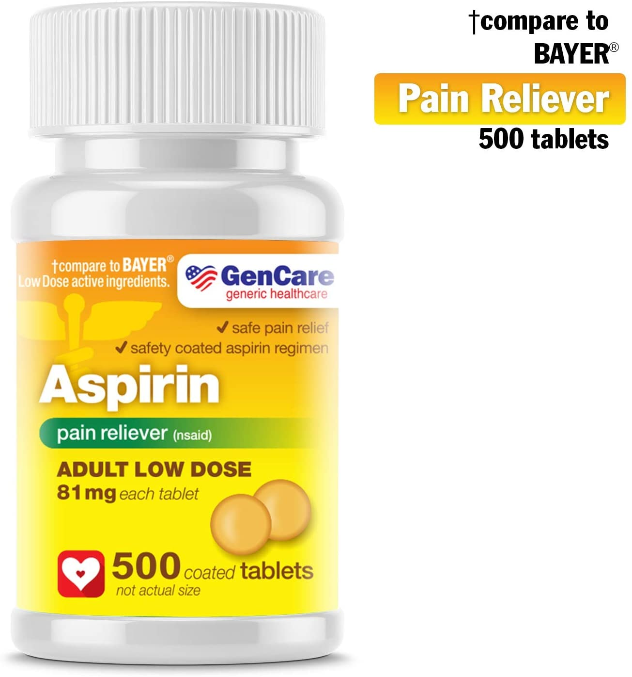 GenCare - Aspirin Pain Reliever (NSAID) 81 mg (500 Coated Tablets) Adult Low Dose | Safe Pain Relief Enteric Coated Aspirin Pills | Muscle Pain & Menstrual Pain Relief | Generic Bayer