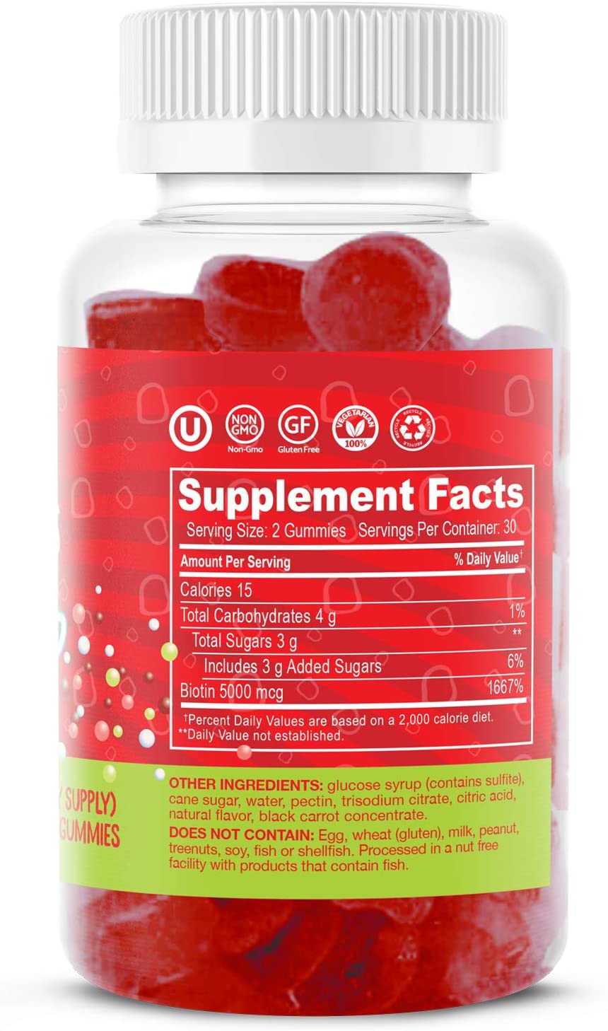 Dippin' Dots - Extra Strength Biotin 5000mcg (60 Gummies) Healthy Hair, Skin & Nails | High Potency Biotin in Delicious Very Berry Raspberry Natural Fruit Pectin Chews | Vegan, Non-GMO Gluten Free