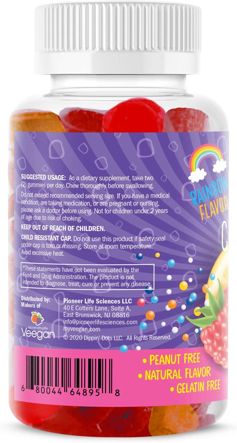 Dippin' Dots - Multivitamin Gummies for Kids | Rainbow Fruit Flavor Complete Multivitamin Chewy Gummies | Premium Blend with Vitamin A, B, C, D3, E, B6, Zinc and More | Vegetarian Non GMO