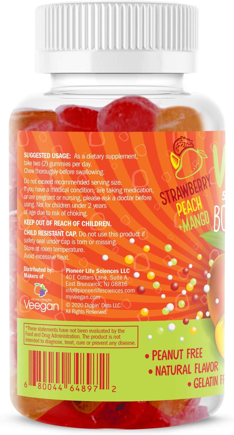 Dippin' Dots - Vitamin D3 Gummies Bone & Immune Support 2000 iu of Vitamin D3 per Serving | Natural Strawberry, Peach & Mango Fruit Pectin Gummies for Adults | Vegan, Non-GMO Gluten Free