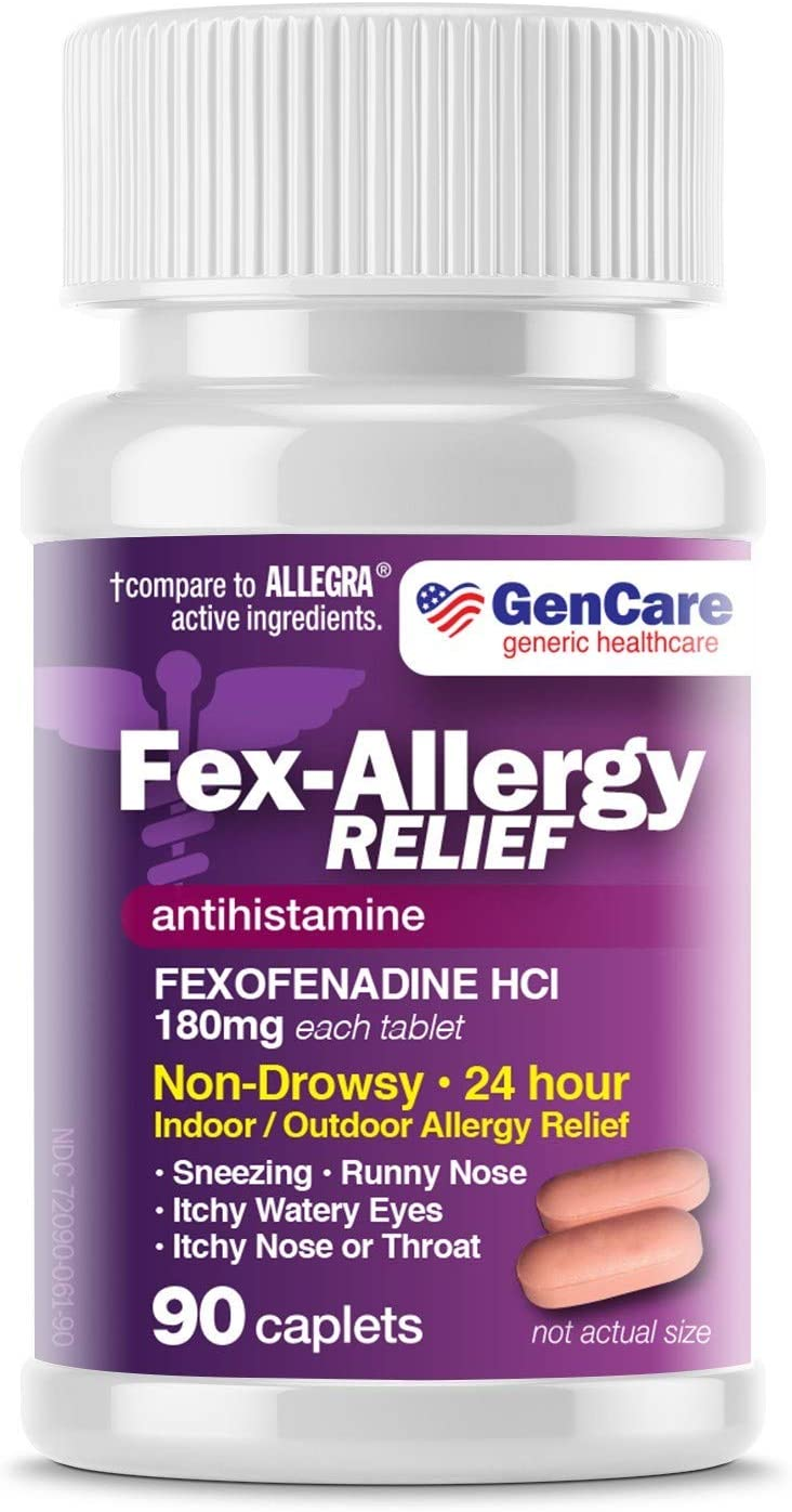 GenCare - Allergy Relief Pills | Fexofenadine HCl 180mg (90 Tablets) | Non Drowsy Antihistamine Allergy Pills for Hay Fever, Seasonal Allergies, Outdoor & Indoor Allergies | Relieves Itchy Eyes & Nose