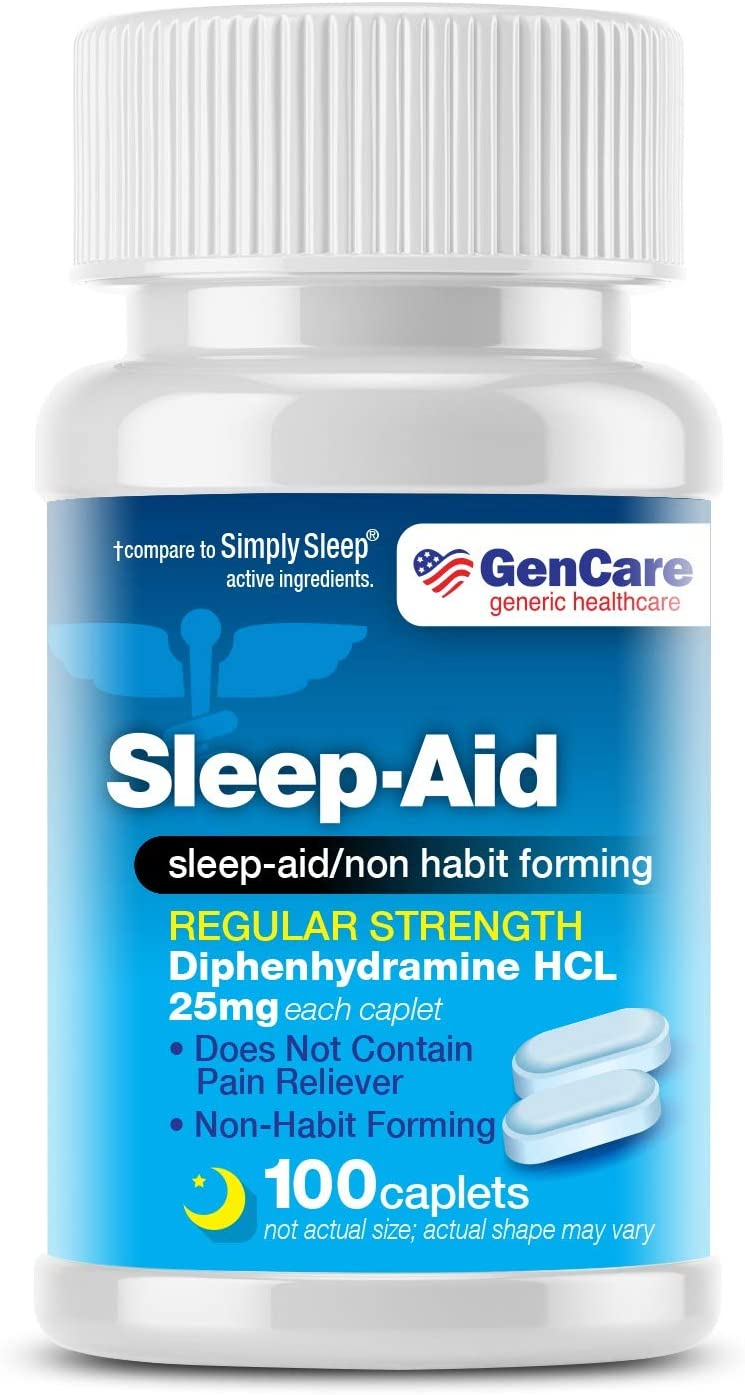 GenCare - Sleep Aid Diphenhydramine 25mg (100 caplets) | Regular Strength Non Habit Forming to Fall Asleep Faster & Sleep Deeper | Causes Drowsiness Take 1-2 Pills Before Bed | Generic Simply Sleep