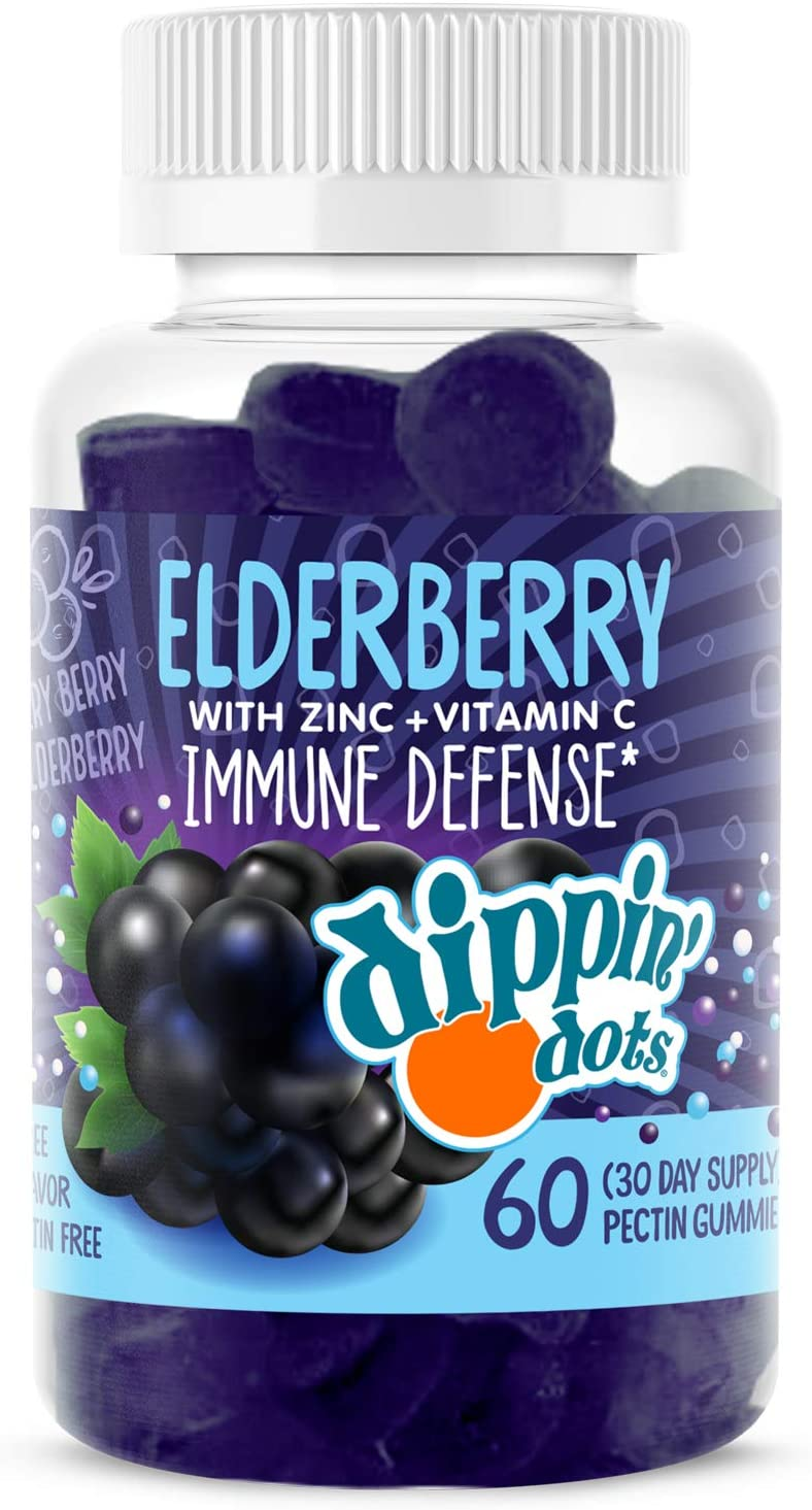 Dippin' Dots - Elderberry Gummies with Vitamin C & Zinc | Immune Defense Supplement with Natural Flavors | Pectin Fruit Gluten Free Immune System Booster Gummies for Adults