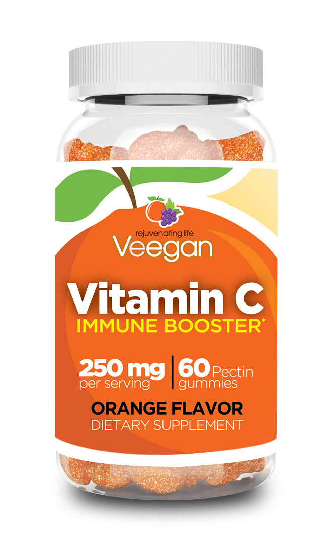 Veegan - Vitamin C Gummies Immune Booster 250mg (60/90/120 Count) Yummy Orange Flavor, Immune Support Children's Dietary Supplement, Vegan, Non-GMO, Gluten & Gelatin Free, Real Fruit Pectin Chews