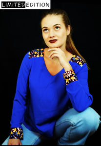 Anisa Electric Blue Shirt with Colored Cuffs - Velmoft