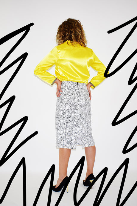 White Skirt with Black Dots - Velmoft
