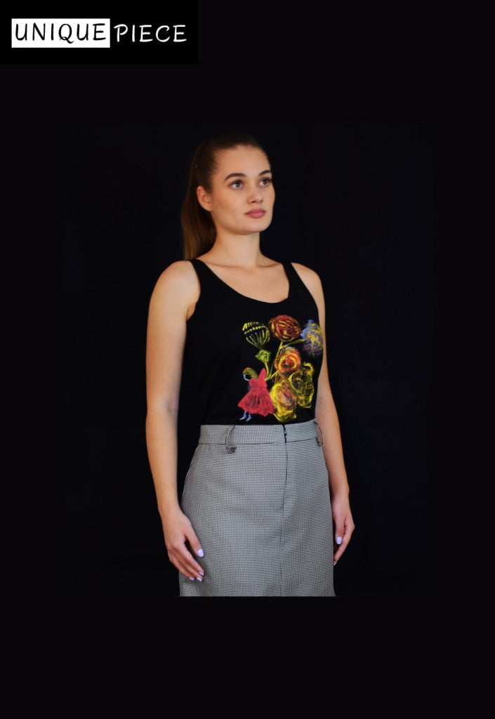Handpainted Top Crafted with Organic Cotton - Velmoft