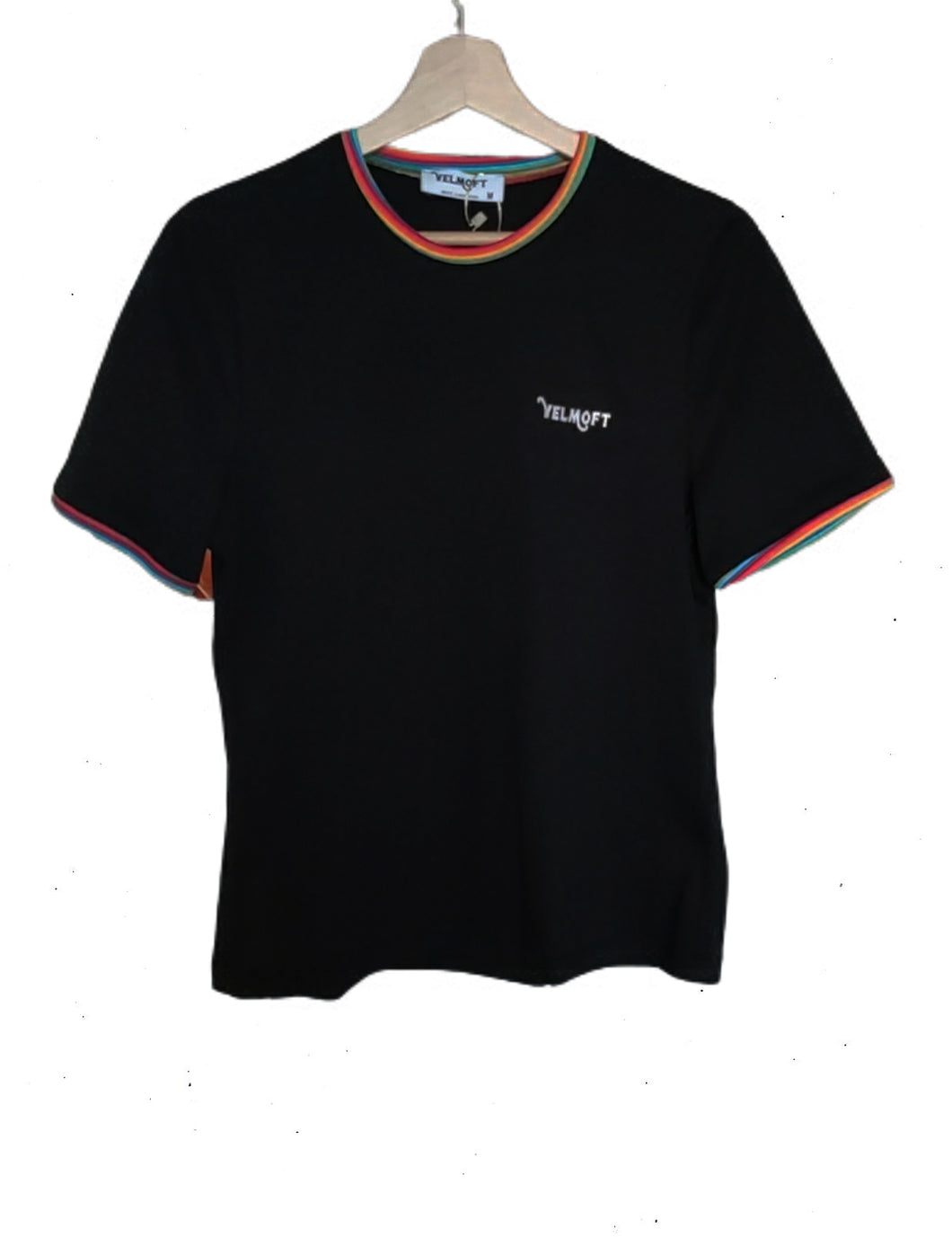 Woman's Black T-shirt with embroidered logo - Velmoft
