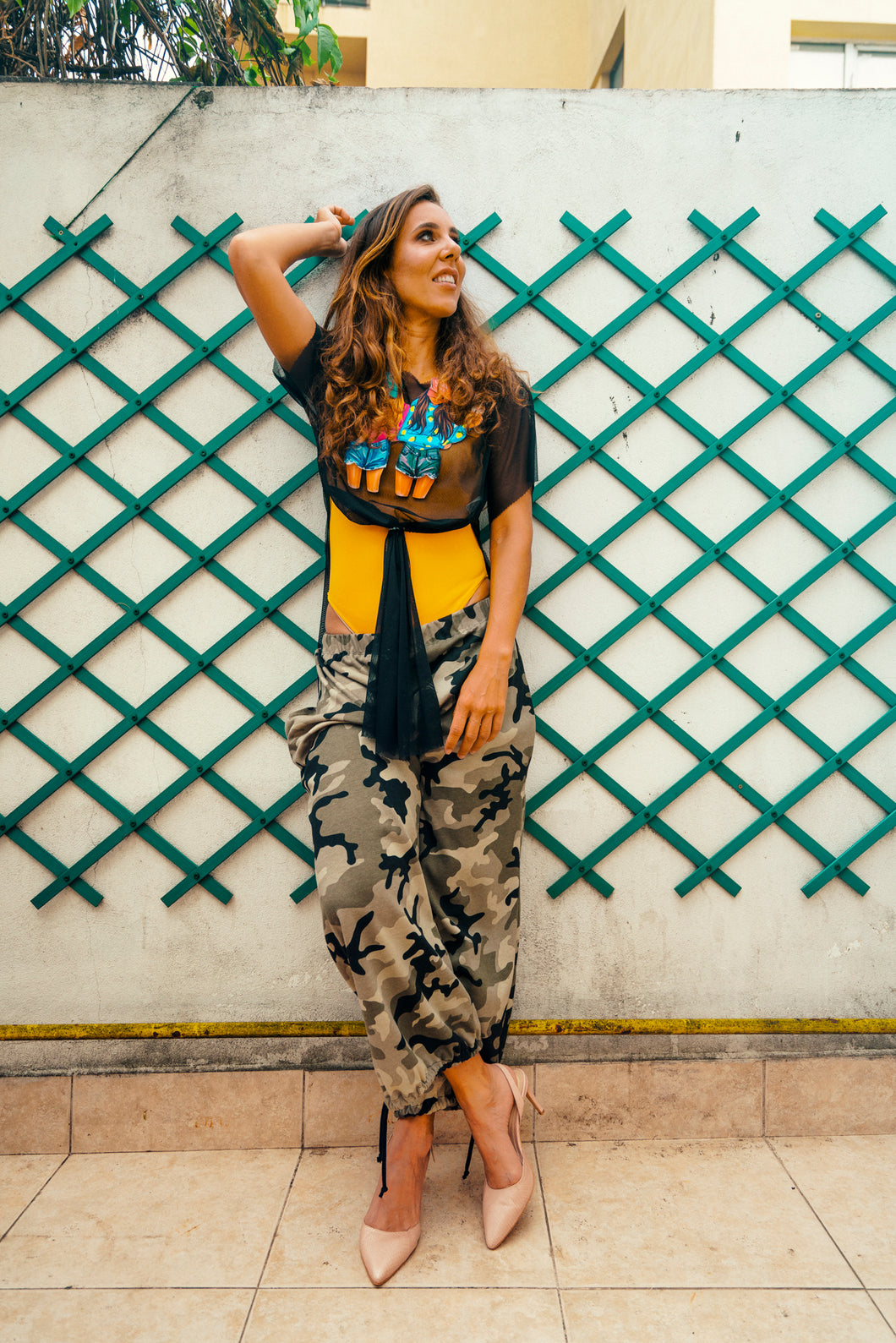 Casual Pants with Army Print - Velmoft