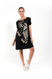 Black Dress with African Elements - Velmoft