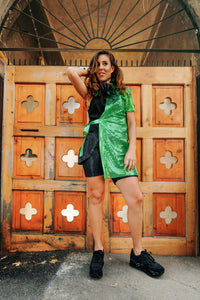 Green Trench with Sequins ,,Half'' - Velmoft