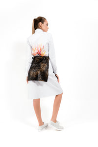 White Handpainted Shirt Dress - Velmoft