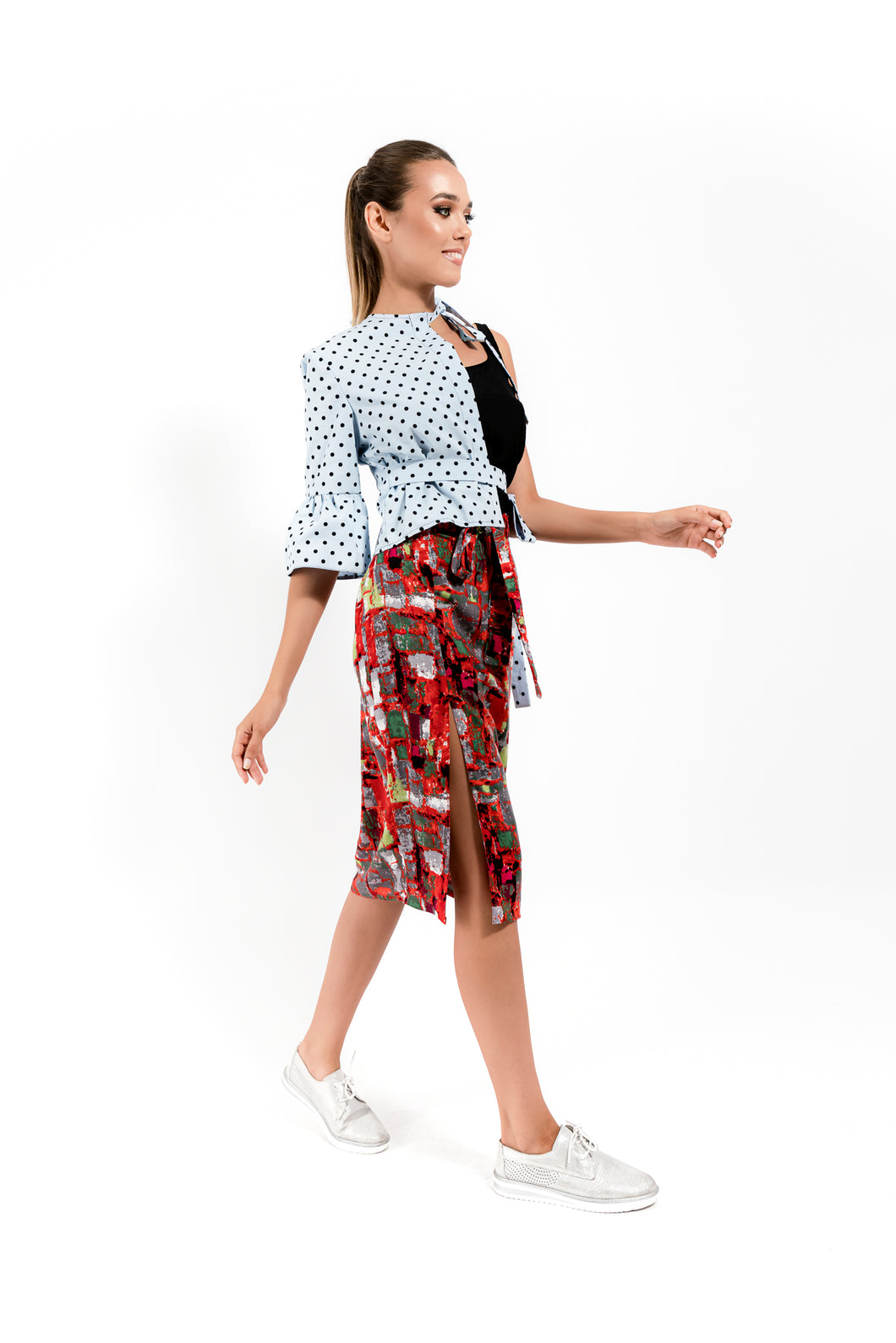 Red Printed Skirt with a  Cut Leg - Velmoft