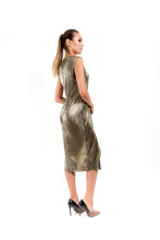 Load image into Gallery viewer, Midi Gold Dress - Velmoft