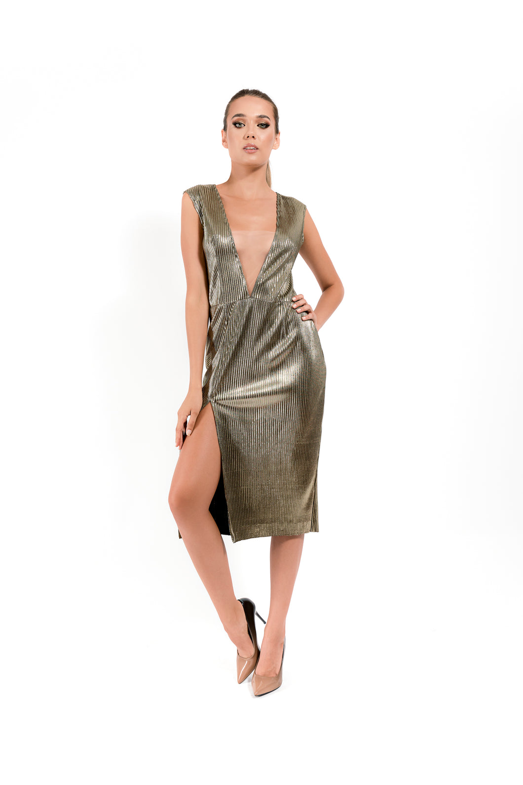 Midi Gold Dress - Velmoft