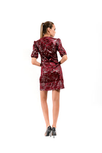 BurgundY Dress with Short Bells Sleeves - Velmoft