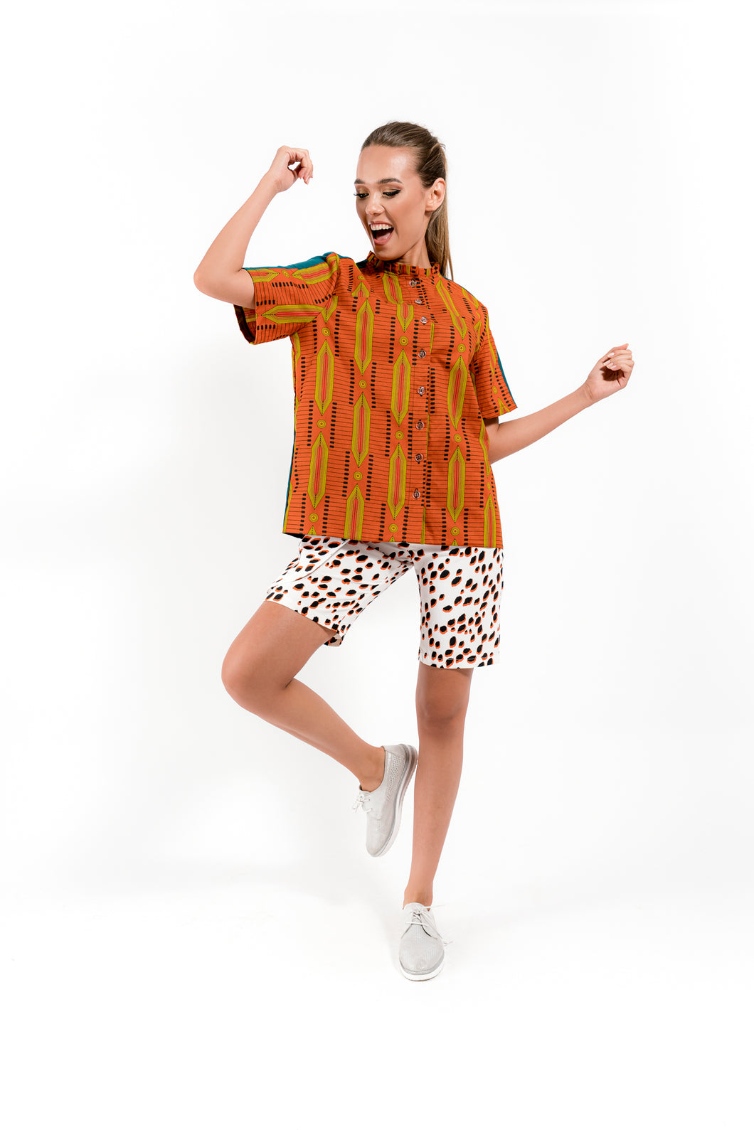 Orange Shirt with Geometrical Print - Velmoft