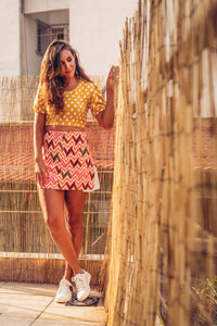Orange Skirt with Geometrical Print - Velmoft