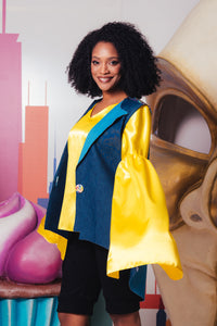 Satin Yellow Blouse with Special Sleeves - Velmoft