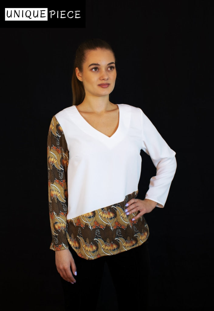Ioana Shirt, Crafted with Soft Fabric, Decorated with Orange Flowers - Velmoft