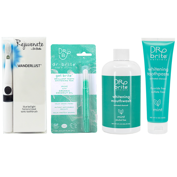 Lauren Breiding's Wanderlust Travel Sonic Toothbrush Bundle - includes Mint Toothpaste 5oz, Mint Mouthwash 8oz & Get Brite™ Teeth Whitening Pen