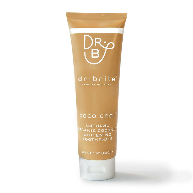 Dr. Brite Natural, Fluoride Free, EWG Verified, Coco Chai Toothpaste with Activated Charcoal, Cinnamon, and Coconut Oil.