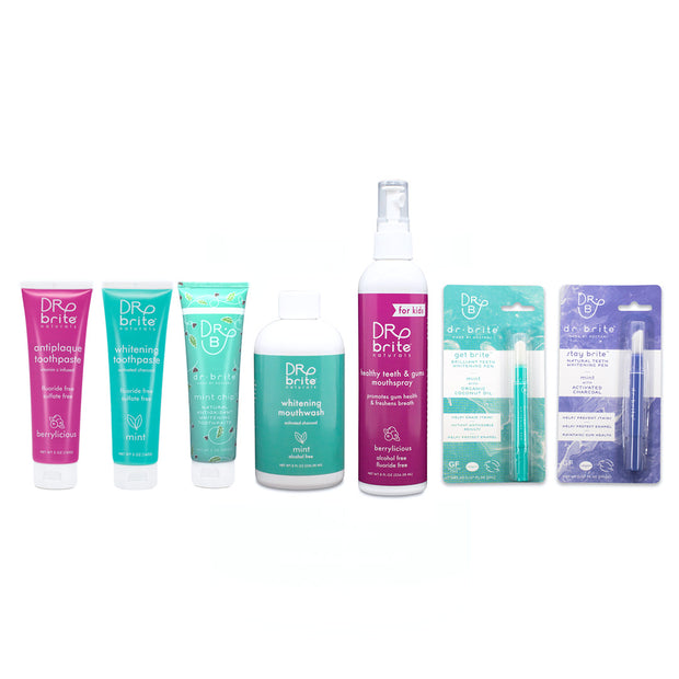 INFLUENCER BOX - KIDS ORAL HEALTH BUNDLE - Stay Brite, Get Brite, Berrylicious TP 5oz, Berrylicious Spray 8oz, Mint Chip TP 5oz, Mint TP 5oz, Mint MW 8oz