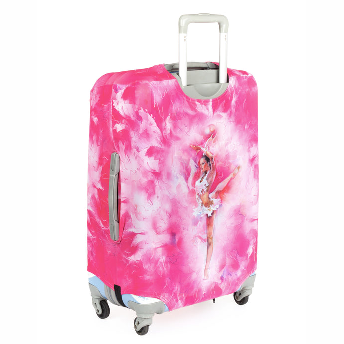 Luggage cover with Gymnast print