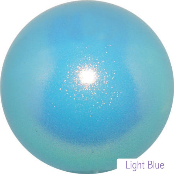 Gymnastics ball with glitter 16cm - Light Blue colour