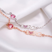 "Load image into Gallery viewer, Silver Bracelet ""I love RG"""