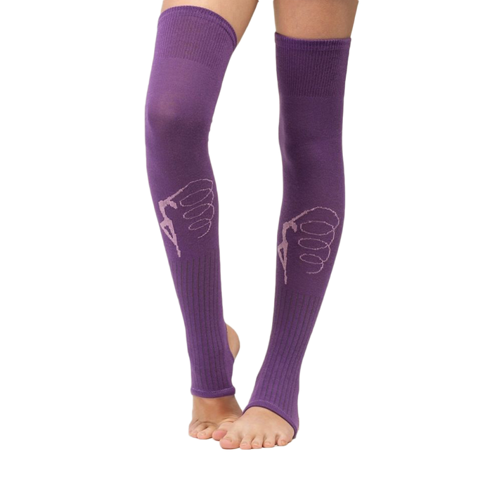 Leg warmers with gymnast print