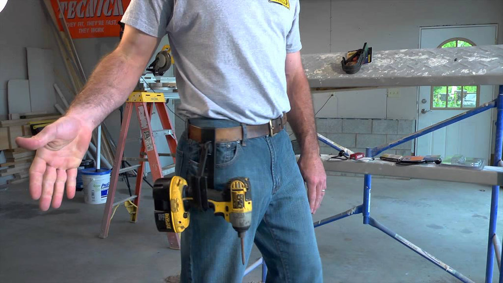 Dave Rivera demonstrates the Gorilla Hook cordless drill gun holster.