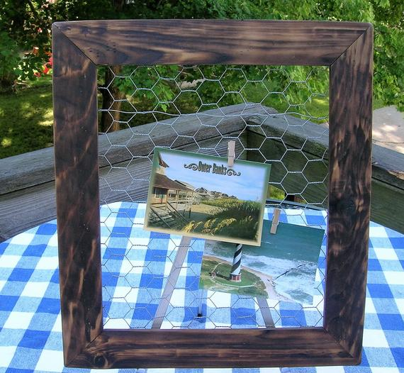 Chicken Wire Frame - Jewelry Organizer, Bulletin Board Photo Display - Burned Wood - 16 x 18 by IrishDayFair