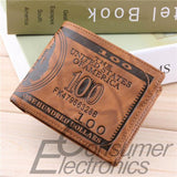 1 pc US Dollar Bill Wallet Brown PU Leather Wallet Bifold Credit Card Photo Thrifty worldwide