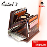 100% Genuine Leather Men Wallets Zipper Coin